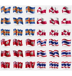 Aland Greenland Bermuda Thailand Set of 36 flags vector