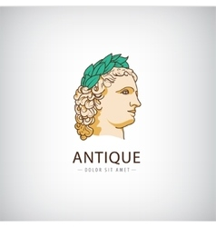 Antique greek head logo icon isolated vector