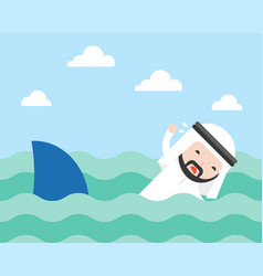 arab businessman swimming to escape shark flat vector image