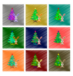 Assembly flat shading style christmas tree rabbit vector