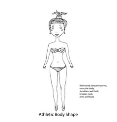 athletic body shape female body shape sketch hand vector image