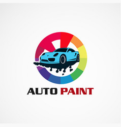 Auto paint service car logo icon element and vector