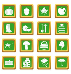 Autumn icons set green vector