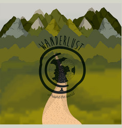 Background forest scenary with road and wanderlust vector