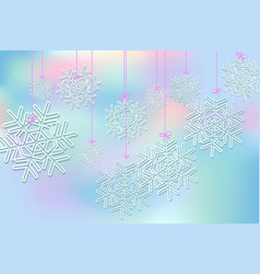 background with suspended snowflakes vector image