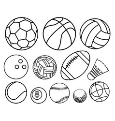 Ball sport outline set vector