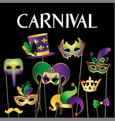 Banner template with golden carnival masks vector