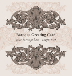 baroque frame decor for invitation wedding vector image vector image