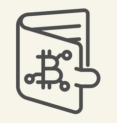 bitcoin wallet line icon bitcoin purse vector image
