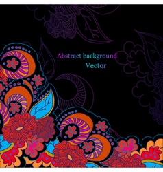 Black background with bright flowers vector image