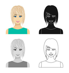 blonde icon in cartoon style isolated on white vector image