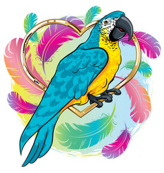 Bright yellow parrot bird with blue wings vector