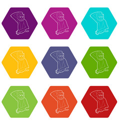 brooding monkey icons set 9 vector image