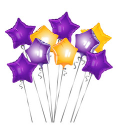 bunch star shape balloons vector image