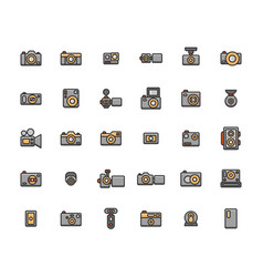 Camera filled outline icon set vector