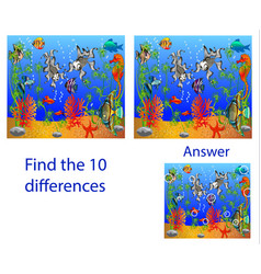 Childrens visual puzzle find ten differences vector