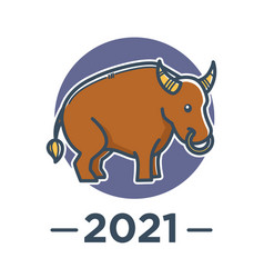 Chinese horoscope ox zodiac sign 2021 new year vector