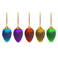 Colorful shining christmas toys isolated on white vector