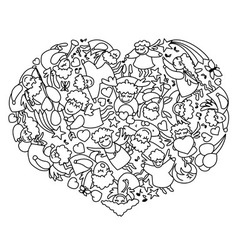 Coloring page with heart from black white angels vector image