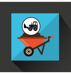 Construction truck concept wheelbarrow design vector
