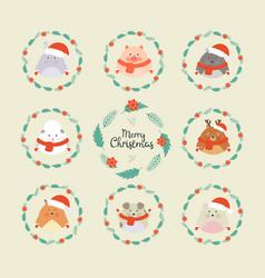 cute christmas forest animals wildlife cartoon vector image