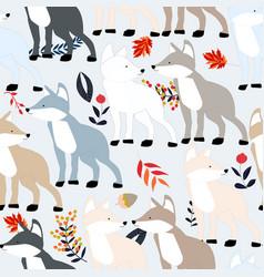 Cute fox or dog seamless pattern vector