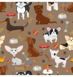 Cute funny dogs seamless pattern vector