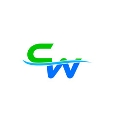 cw letter water wave icon design logo vector image