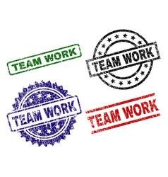 Damaged textured team work seal stamps vector