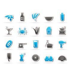 Different king of food and drinks icons 3 vector