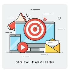 digital marketing flat line art style concept vector image