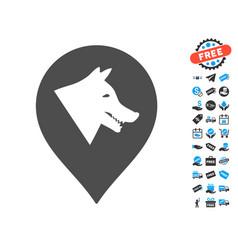 Evil dog marker icon with free bonus vector
