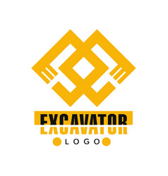 Excavator logo backhoe service label vector