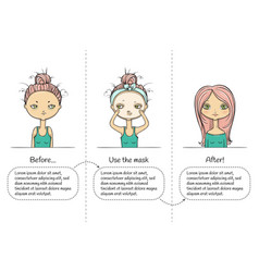 facial treatment three steps instruction girl vector image