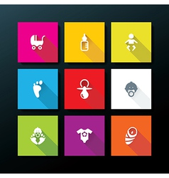 flat baby icon set vector image
