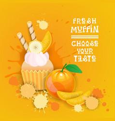 Fresh muffin choose your taste logo cake sweet vector