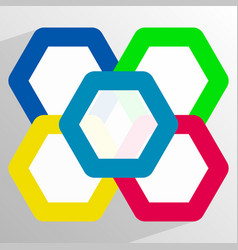 Geometric icon with overlapping hexagons in 5 vector
