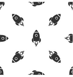 grey rocket ship with fire icon isolated seamless vector image