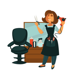 hairdresser woman in hair beauty salon with vector image