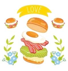 Hamburger ingredients on white background vector image