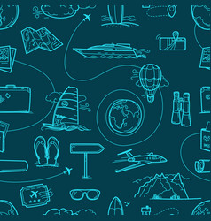 Hand drawn travel doodles seamless pattern vector