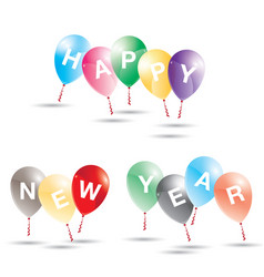 happy new year to multicolored balloons on white vector image