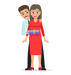 Husband makes his wife present cartoon people vector