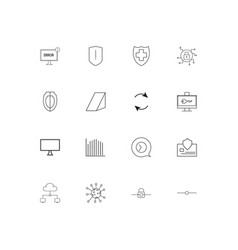 internet security linear thin icons set outlined vector image
