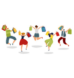 Jumping shopping people happy customers with gift vector