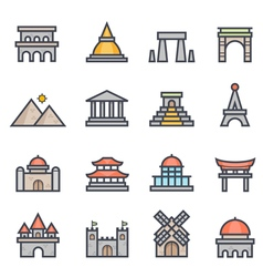 Landmark icon bold stroke with color vector