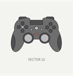 Line flat color computer part icon joystick vector