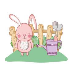 little rabbit in the garden vector image