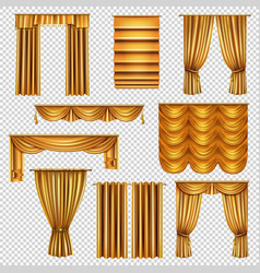 Luxury gold curtains transparent set vector