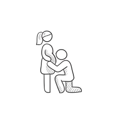 Man with pregnant wife sketch icon vector image